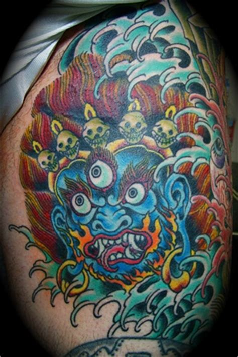 blood water tattoo blue mahakala