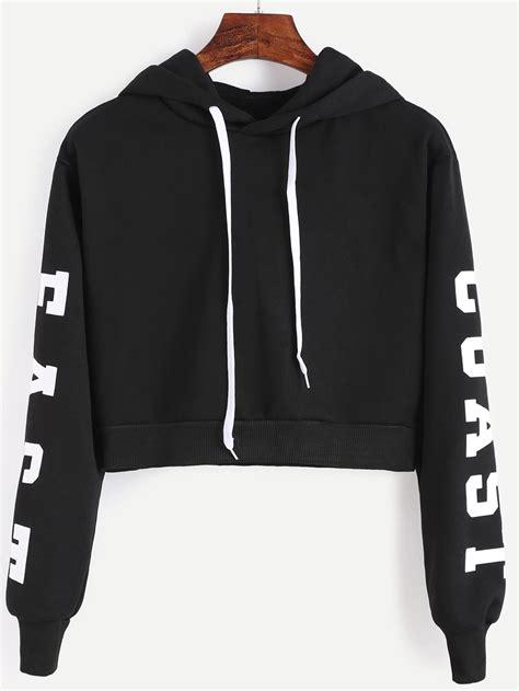 Lettering Print Sweatshirt letters print crop hoodie shein sheinside