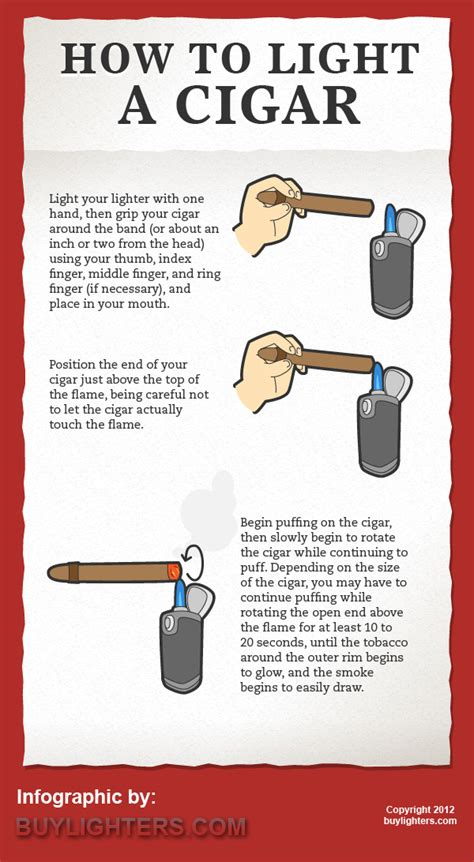 How To Properly Light A Cigar by Infographic How To Light A Cigar Buylighters