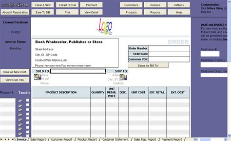 invoice template for book wholesaler publisher or store