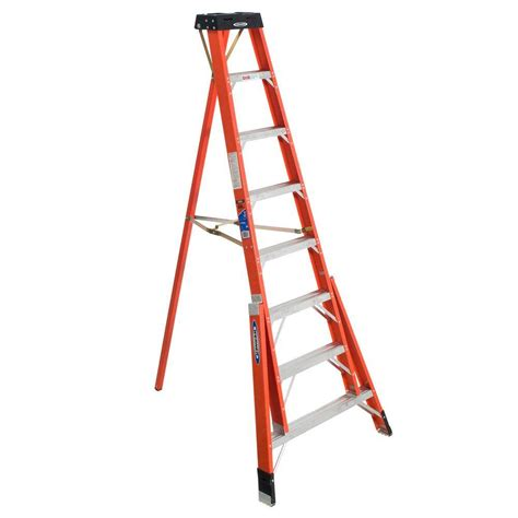 werner 12 ft fiberglass tripod step ladder with 300 lb