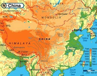 physical map of china physical map of china