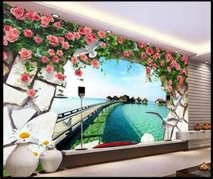 3d murals aliexpress com buy free shipping modern wall 3d murals wallpaper 3d rose ocean pier 3d mural