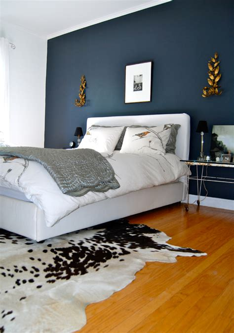 Grey Bedroom With Navy Accents The Home Of Bambou Bedroom With Accent Wall