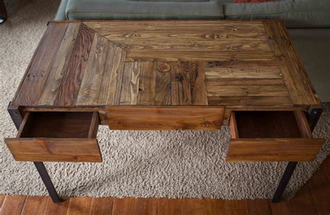 pallet wood desk with metal legs and two drawers by