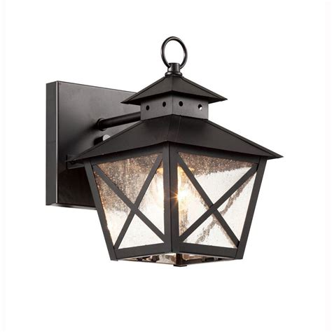 Farmhouse Outdoor Light Bel Air Lighting Farmhouse 1 Light Outdoor Black Wall Lantern With Seeded Glass 40171 Bk The