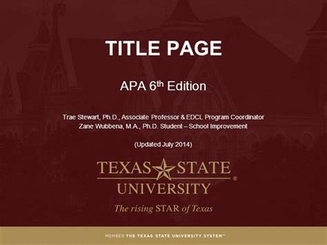 apa powerpoint template module 2 title page apa style 6th ed authorstream