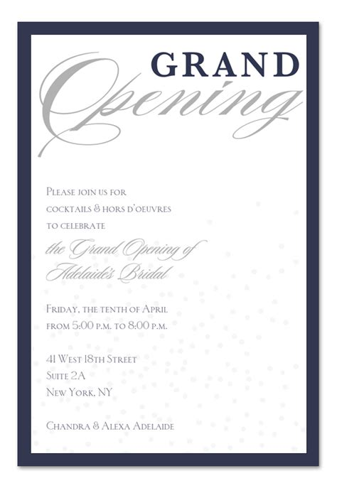 sle wording for health center grand opening invitations