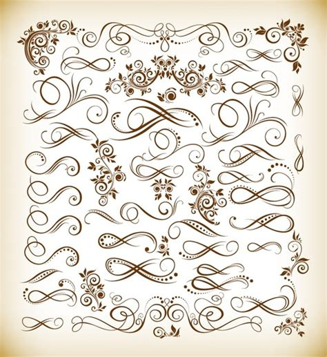 calligraphic vintage design elements vector set calligraphic flourish vector free vector download 1 815