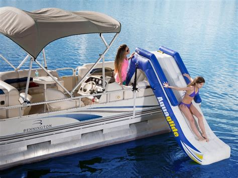 blow up slide for pontoon boat cottagespot aquaglide pontoon boat slide