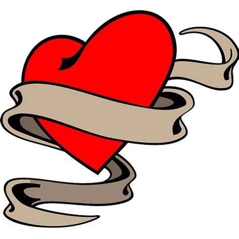 heart with ribbon tattoo designs free free designs free clip