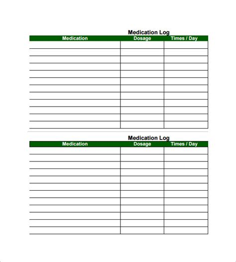free medication list template medication card template 10 free printable word pdf