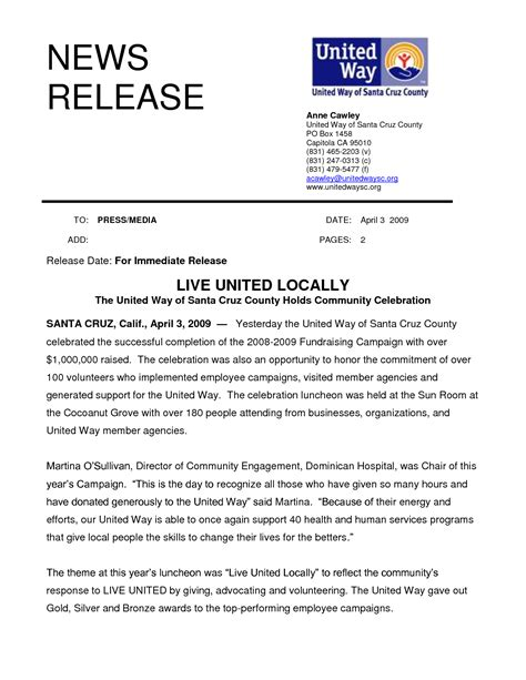 best press release template news release images