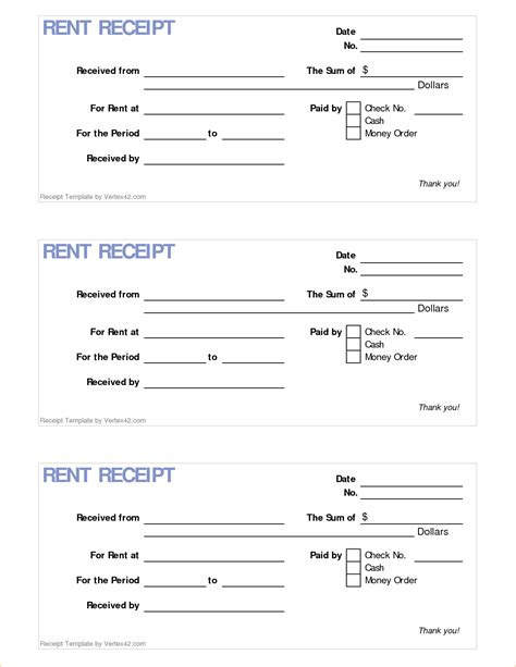 printable receipt template rental receipt template free hardhost info