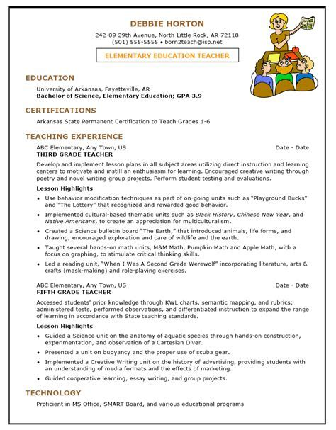 Elementary Education Resume by Sle Resume Template For Elementary Education 1