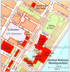 United Nations New York Map by The United Nations Headquarters In Lower Midtown New York