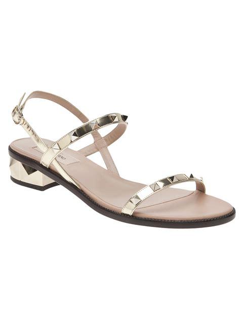 flat sandals valentino rockstud flat sandal in gold lyst