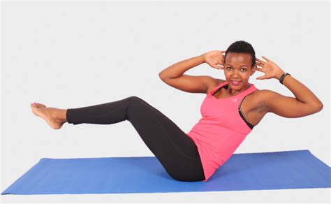 smiling woman  abdominal exercise  shoulders