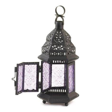 purple glass moroccan style candle lantern 10016122