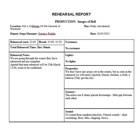 rehearsal report template docs rehearsal report 1