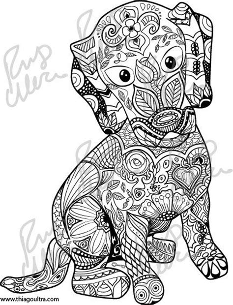 dog mandala coloring page coloration chiots and coloriages on pinterest