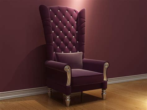 Purple High Back Chair by Purple High Backed Armchair Chair 3d Model Including
