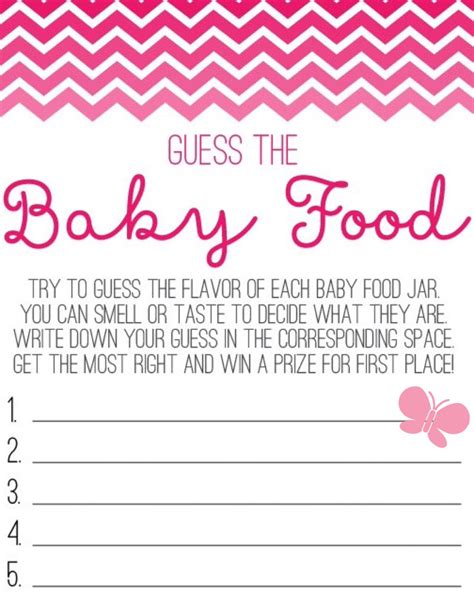 Butterfly Guess The Baby Food Game Sheet Baby Shower Pinterest Food Game Baby Shower Guessing Template