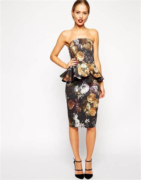 Hezvihia Flowery Peplum Mini Dress Lyst Asos Smokey Floral Peplum Dress