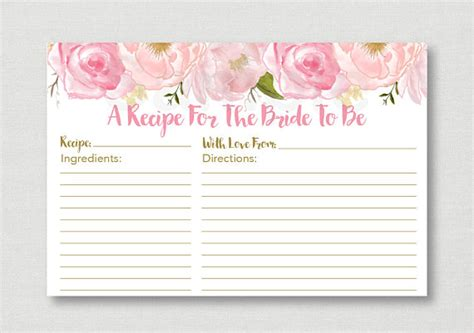 bridal shower recipe cards templates soft pink floral bridal shower recipe cards floral bridal