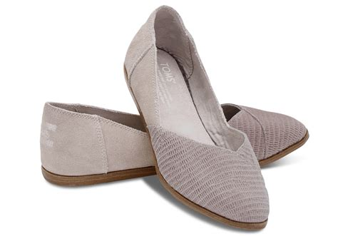 gray flats shoes toms grey suede emboss s jutti flats in gray lyst
