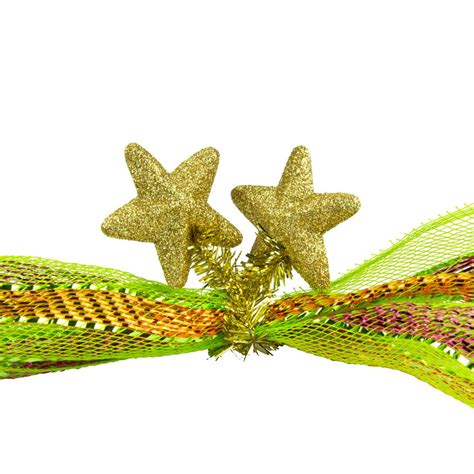 6 quot gold tinsel ties w stars gold set of 12 xx761608