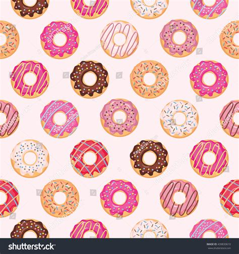 seamless pattern girly seamless pattern glazed donuts pink colors stock vector