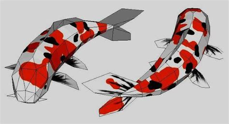 Fish Papercraft - papermau sanke koi fish japanese carp paper model by