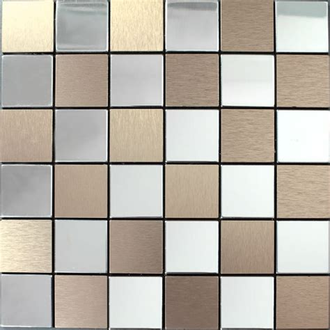 metallic backsplash tile metal tile backsplash kitchen stainless steel tiles square