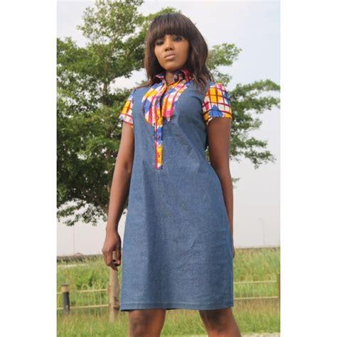 denim and ankara mix dress