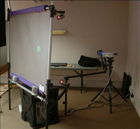 projector stand behind couch interactive kiosk ii
