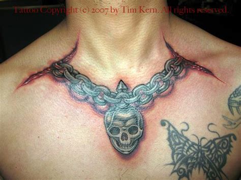 tattoo around neck neck chain tattoo by tim kern tattoonow