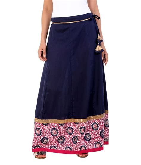 buy aaboli navy blue cotton cambric skirt at