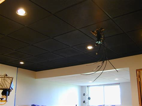Painted Drop Ceiling Spray Paint Basement Ceiling Black Ideas