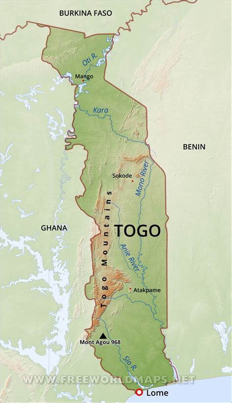 togo on a map togo physical map