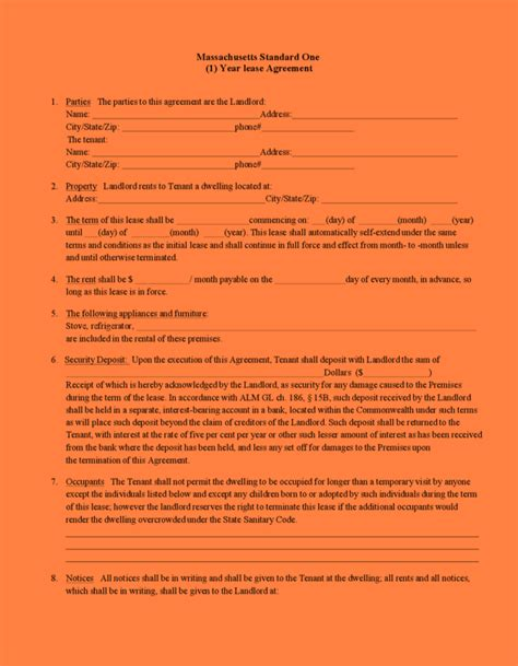 1 Year Lease Agreement - 5 form 1 standard form of rental agreement purchase