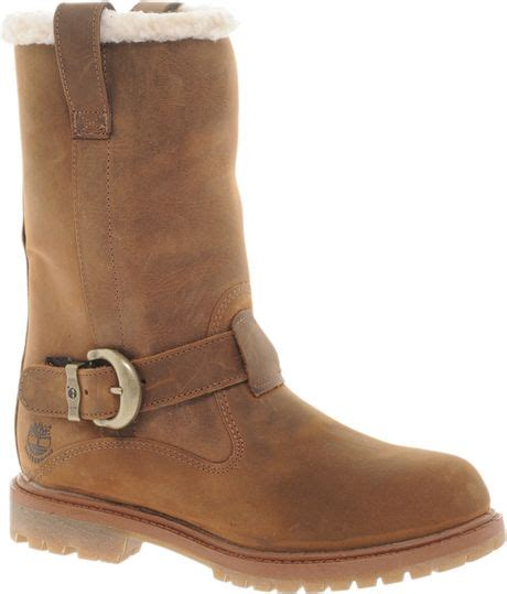 timberland nellie pull on flat boot in brown lyst