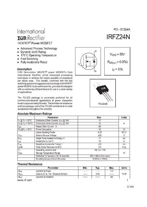 transistor mosfet irfz24n irfz24n 156154 pdf datasheet ic on line