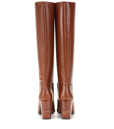 burch high heel boots lyst burch leather knee high boots in brown