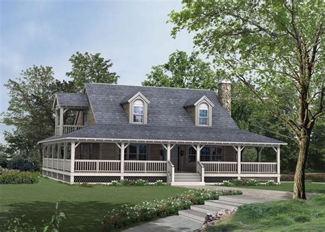 small country style house with wrap around porch house