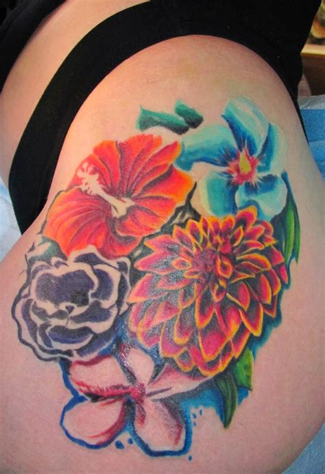 tropical flower tattoo hawaiian flower tattoos
