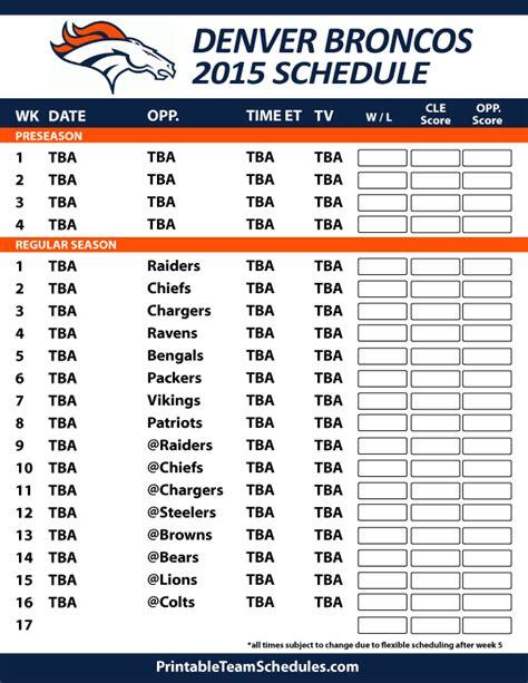 printable broncos schedule 2015 2016 denver broncos schedule printable calendar
