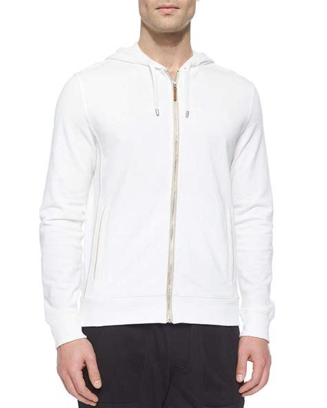 Hoodie Jacket White lyst michael kors waffle knit zip up hoodie jacket in white for