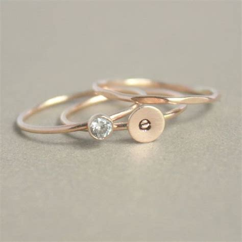 Instant Ring 3 gold stacking ring set initial ring gold ring personalized gold stacking ring set of