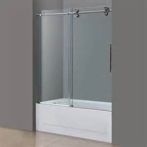 Tub Shower Door Langham Frameless Sliding Tub Height Door In Chrome Or Stainless Platinum Bath